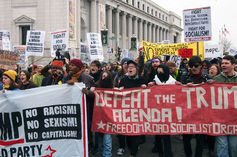 Freedom Road Socialist Organization supporters during an anti-Trump march in Washington on Jan. 20, 2017. (slowking4/GFDL 1.2)