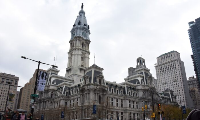 The City Hall building with the statue of William Penn on top is seen in the city center of Philadelphia on December 3, 2017. Philadelphia is the largest city in Pennsylvania and the sixth-most populous city in the United States, with an estimated population of 1,567,872 and more than 6 million in metropolitan area, as of 2016. Philadelphia is the economic and cultural anchor of the Delaware Valley region, located along the lower Delaware and Schuylkill Rivers.  / AFP PHOTO / Eric BARADAT        (Photo credit should read ERIC BARADAT/AFP via Getty Images)