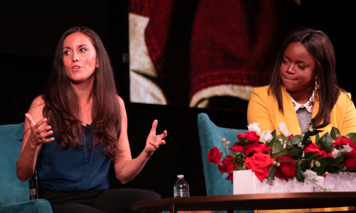 Community organizers Cristina Tzintzún Ramírez (L) and Brittany Packnett share how they've built a social movement, at The Summit on Race in America at the LBJ Presidential Library on April 9, 2019. Tzintzún is founder and director of Jolt, a Texas-based organization that builds the political power and influence of Latinos. Ralph Barrera/LBJ Library via Wikimedia Commons