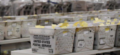 Trays of election ballots are seen at the Palm Beach County Supervisor of Election Warehouse in West Palm Beach, Florida, on Nov. 15, 2018. Michele Eve Sandberg/AFP via Getty Images