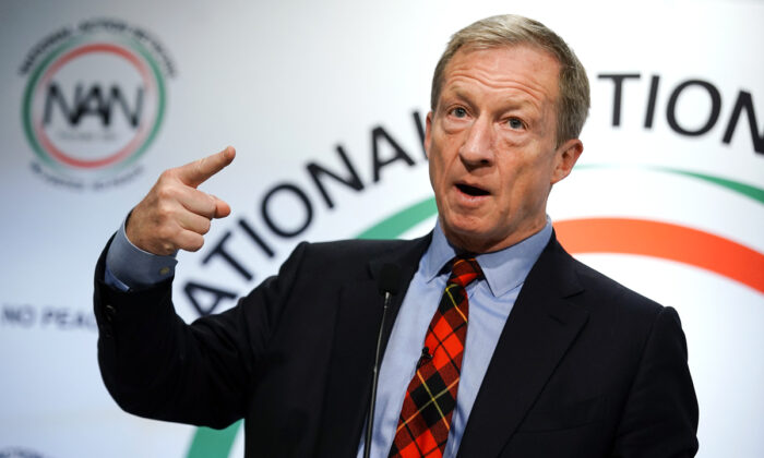 U.S. Democratic presidential candidate Tom Steyer speaks at the National Action Networks Southeast Regional Conference in Atlanta, Ga., on Nov. 21, 2019. Elijah Nouvelage/Getty Images